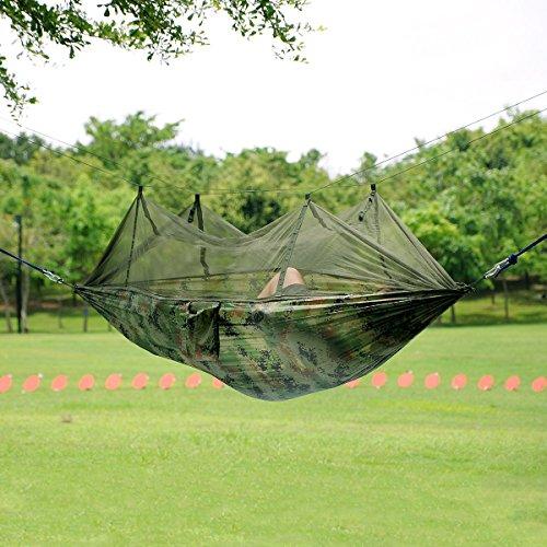 Earlybird Savings 245 x 135cm Armee-Grün Tragbare Parachute Nylongewebe -Swing-Bett mit Moskitonetz Hängematte für Outdoor Camping Garten Reisen Strand