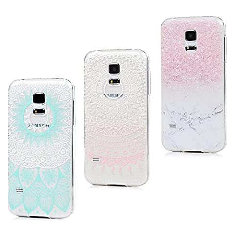 3 x Coque S5 Mini, Badalink Case Housse Bumper Coque de Protection TPU Silicone Gel Souple Flexible Ultra Mince Slim Léger Anti Rayure Antichoc Coque pour Samsung Galaxy S5 Mini Coque Motif Mabre Totem Rose