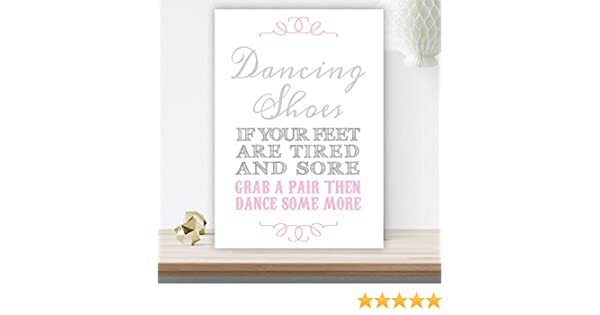 ef25a3771 Grey and Pink Dancing Shoes Wedding Flip Flop Basket Sign (GP9) (White  Pearlised Card