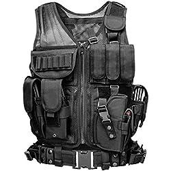 Xinwcang Chalecos Tácticos Exterior Cuerpo Chaqueta Militar CS Game Cosplay Negro One Size