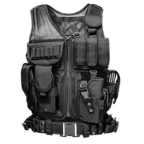 Xinwcang Erwachsene Taktische CS Feld Kampftraining Vest Funktionale Multitasche Militär Taktisch Weste Schwarz One Size