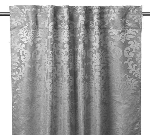 Jacquard Gardine Vorhang Barock, verdeckte Schlaufe, Stangen- und Schienenaufhängung, 135x245, Farbe wählbar (Silber)