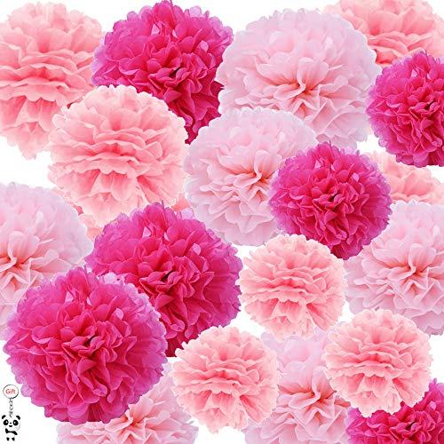 Sicai Pompon di carta velina per decorazioni di matrimoni e feste di compleanno, 27 pezzi, colori: fucsia, rosa chiaro e rosa
