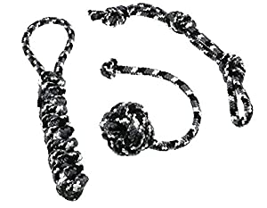 Dog toy set, ideal for playing, raving, working to capacity and cleaning of teeth for small to medium-sized dogs and puppies made of knotted PPM rope, rope+throwing ball+dummy in black/white.