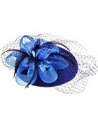 Vbiger Mujer Fascinador Lana Sombrero Fortín Inglaterra Retro Pequeño Sombrero Cóctel Fiesta Boda Arco Velo