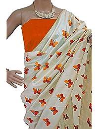Nena Fashion Cotton Silk Saree With Blouse Piece (Titli_orange_Orange_Free Size)
