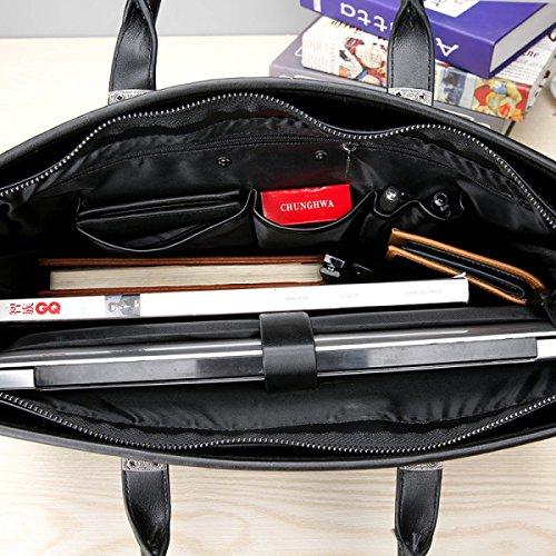 BULAGE Man Tasche Mode Handgewebt Handgehaltenen Leder Lässig Schulter- Messenger Arbeitsplatz Atmosphäre Verfeinerter Black