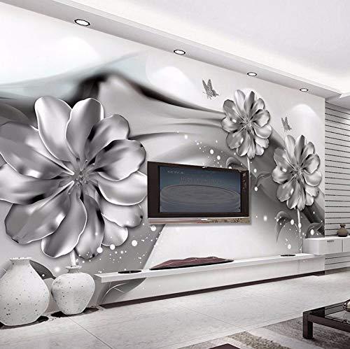 Xzfddn Foto Tapete 3D Stereo Abstrakt Tinte Rauch Nachahmung Metall Blumen 3D Wandbild Moderne Kunst Wohnzimmer Tv Sofa Hintergrund Decor-280X200CM 5300 Stereo