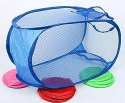 SahiBUY BIG Nylon Mesh Foldable Laundry Washing Clothes Basket Bag (Multicolor)