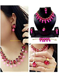 Apsara Art Jewellery Gold Plated Rani Pink Glass Stones Studded In Necklace With Pearl Drop, Earring, Bracelet...