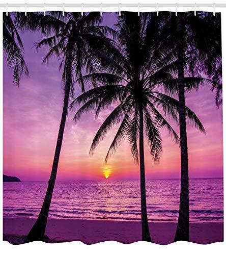 ABAKUHAUS Ozean Duschvorhang, Palmen Silhouette Lila, Bakterie Schimmel Resistent inkl. 12 Haken Waschbar Stielvoller Digitaldruck, 175 x 200 cm, Lila Schwarz - Lila Duschvorhang