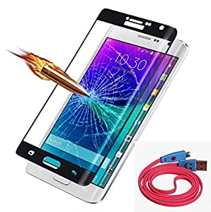 ( Pack of Two ) Smiley face LED Micro usb data charging cable & Full Screen Two Anti-scratch Laser-cut tempered glass Protectors with Curved Edge, Cover Edge-to-Edge, Protect Your Phone from Drops & Impacts, HD Clear, Bubble-free Shockproof It's pressure-resistant & delivering an outstanding durability for your Smart Phone - Panasonic-Eluga-A