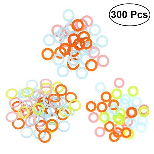 Healifty 300 stücke Stich Marker Kunststoffstrick Marker Ringe Glatte Häkeln Stich Marker Ring Assortierte Stricken Zähler Nadel Clip (zufällige Farbe) -