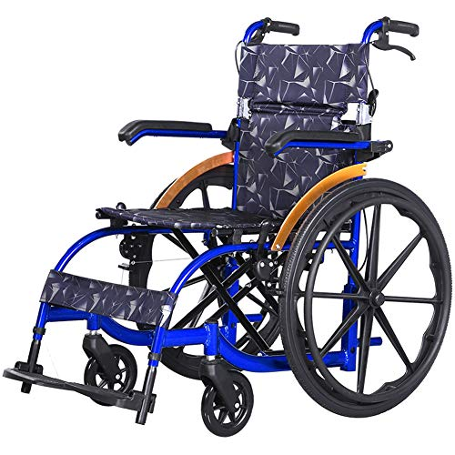 HETAO Medical Orbit Deluxe Folding Leichtgewicht Aluminium Transit Rollstuhl Folding Portable Disabled Trolley Handlauf einstellbar,BigWheel (22 Portable Rollstühle,)