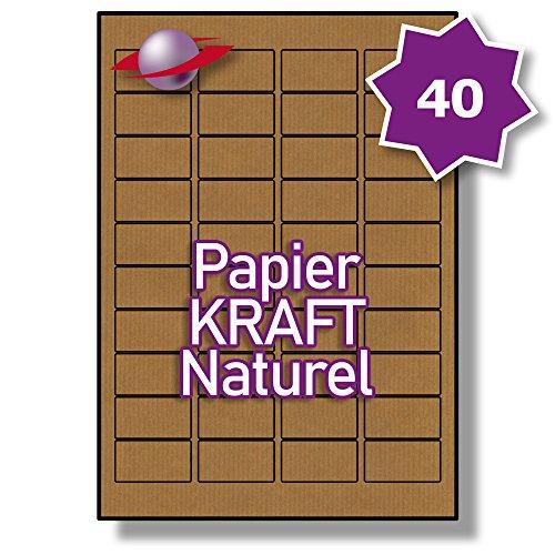 40 Par Feuille, 5 Feuilles, 200 Étiquettes. Label Planet® Etiquettes KRAFT sur Papier A4 Brun Naturel pour Impression Jet d'encre et Laser 45.7 x 25.4mm, LP40/45 BRK.