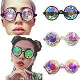 Kaleidoskopbrille,Runde Sonnenbrille Brille,Partybrille für Selfie,Cosplay,Tanzparty,Musik Festival,EDM (One size, Schwarz)