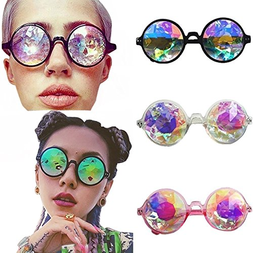 Kaleidoskopbrille,Runde Sonnenbrille Brille,Partybrille für Selfie,Cosplay,Tanzparty,Musik Festival,EDM (One size, Rosa)