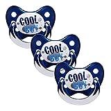 Dentistar® Schnuller 3er Set - Nuckel Silikon in Größe 1 von Geburt an, 0-6 Monate - zahnfreundlich & kiefergerecht - Beruhigungssauger für Babys - Blau Cool Boy