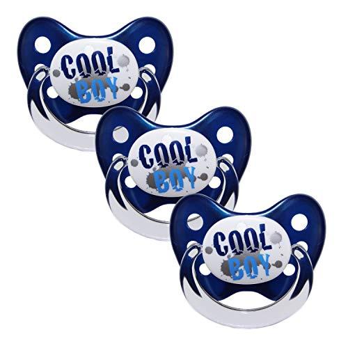 Dentistar® Schnuller 3er Set- Nuckel Silikon in Größe 3, ab 14 Monate - zahnfreundlich & kiefergerecht - Beruhigungssauger für Babys - Blau Cool Boy