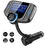 Esolom FM Radio Transmitter Auto Bluetooth, Freisprechanlage für Auto, Integriertem Mikrofon, Telefonieren mit Freisprechfunktion, 2 USB Ladegerät (QC3.0 & 5V/2.4A), 1,7-Zoll-Display, AUX-Eingang, TF-Kartenslot, für MP3 Player, iPhone X/8/7, Android Smartphone