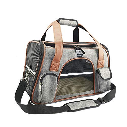 Haustier Transporttasche weiche Reisetasche für Hunde und Katzen trägerkäfig Fluggesellschaft zugelassen faltbare atmungsaktiv 42x24x27cm PHB420245GL