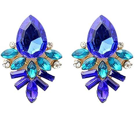 Ohrringe, Oyedens Mode Damen Dame Strass Kristalltropfen Legierung Ohrstecker Ohrringe (Blau)