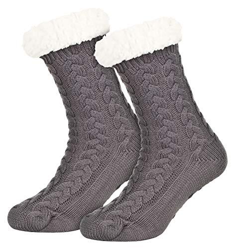 Piarini 1 Paar Kuschelsocken mit ABS Sohle - warme Damen Socken - Wintersocken mit Anti Rutsch Noppen - dicke Haussocken grau
