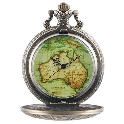 Eöhls Fall Australien Karte Zifferblatt Band Tasche Uhr Lange Retro Kette Kupfer Steampunk Geschenk ()