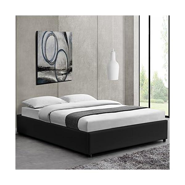 designetsamaison lit avec coffre de rangement noir avec sommier 140 x 190 cm eveil inspid co. Black Bedroom Furniture Sets. Home Design Ideas
