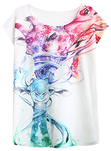 Futurino Women's Love Giraffe Kiss Print Crewneck Short Sleeve T-Shirt Top Tees