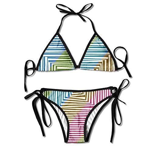 Women's Thong Bikini Suit Swimsuit Psychedelic Square Pattern Sexy Bikini Set 2 Piece