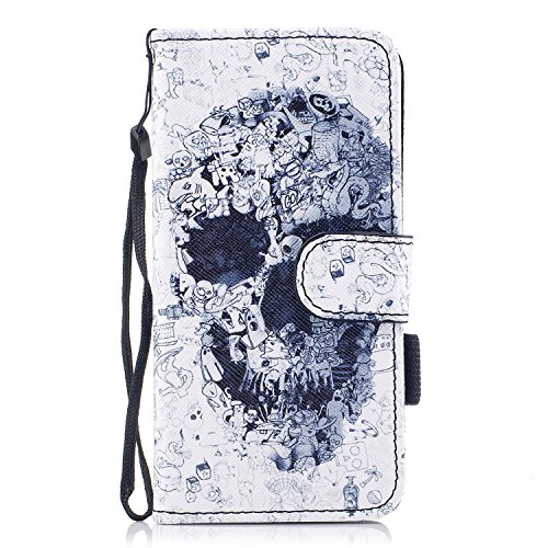 Custodia iPhone 7 / iPhone 8 Cover ,COZY HUT Flip Caso in Pelle Premium Portafoglio Custodia per iPhone 7 / iPhone 8, Retro Animali di cartone animato Modello Design Con Cinturino da Polso Magnetico S Cranio di orrore