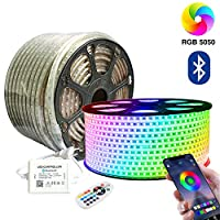 SIGHTLING 30m RGB LED Strip Light with 24 Buttons Remote Control Bluetooth Controlled LED Strip, 60 LEDs/m 5050SMD Waterproof IP65 Light Strip