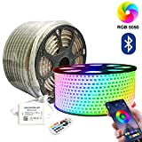 SIGHTLING 30M RGB LED Strip Lichtband mit 24 Tasten Fernbedienung Bluetooth Kontrolliert LED Streifen, 60LEDs/m 5050SMD Lichterkette Wasserdicht IP65 Lampenband