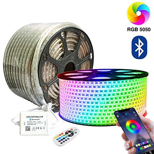 SIGHTLING 20M RGB LED Strip Lichtband mit 24 Tasten Fernbedienung Bluetooth Kontrolliert LED Streifen, 60LEDs/m 5050SMD Lichterkette Wasserdicht IP65 Lampenband