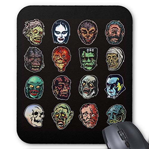 Mauspad, Motiv: Horror Movie Monsters Halloween Masken, 45,7 x 55,9 cm