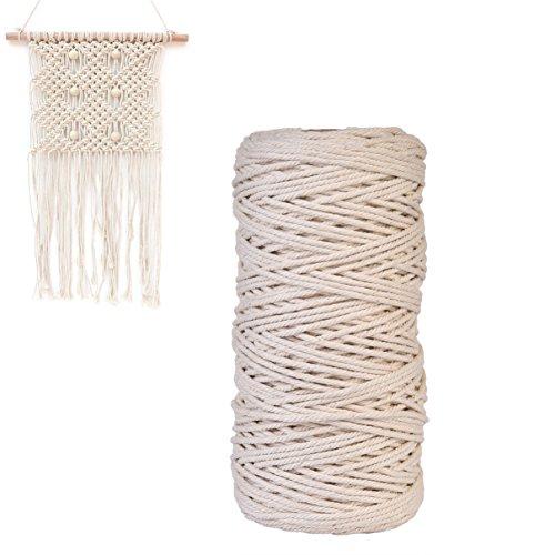 Cheerfulus Natural Beige handmade Baumwolle Cord Makramee Garn Rope 3mm x 200m #C -