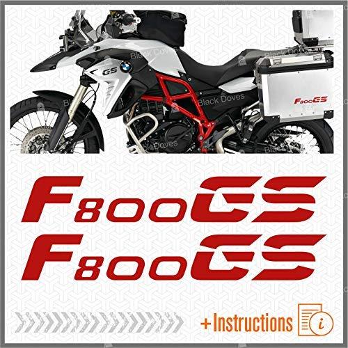Black Doves Graphics 2pcs Aufkleber kompatibel für Motorrad F800 GS BMW F 800 F800GS (red)