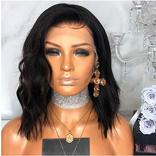 YZ-YUAN Perücke schwarz lebensecht Kurzes lockiges Haar Natürliche Mittellange Haare für Damen Damen Tägliche Party Halloween Cosplay Kostüm Hitzebeständige Synthetische Haarteil