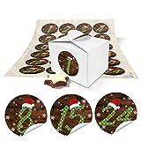 24 kleine Schachteln mini Boxen 8 x 6,5 x 5,5 zum Adventskalender selber basteln und befüllen + runde Zahlen Nummern Aufkleber ROTE MÜTZE vintage von 1 bis 24 als Geschenk-Idee zu Weihnachten