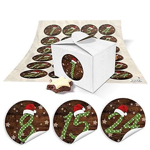 24Petites boîtes Mini Boîtes (8x 6,5x 5,5) pour calendrier de l'avent selber bricolage et numéros de remplissage + Chiffres autocollants Bonnet Rouge Vintage de 1à 24Idée Cadeau de