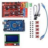 3D Printer Kit mit Mega 2560 Board + RAMPS 1.4 Controller + 5pcs A4988 Schrittmotor-Treiber mit Heatsink + LCD 12864 Grafik-Smart-Display-Controller mit Adapter für 3D-Drucker