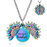 You are My Sunshine Engraved Pendant Necklace Sunflower Locket Necklace for Women Girls