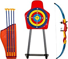 Idea Regalo - Savage Island Set tiro con l'arco per bambini con arco, frecce, supporto e bersaglio