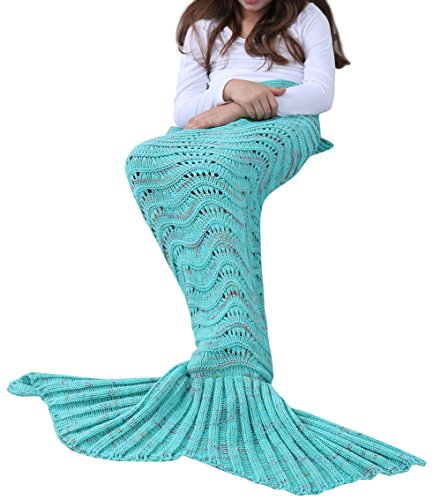 YiZYiF Meerjungfrau Decke Handgemachte Gestrickt Schlafsack Strick Decke Mermaid Tail Blanket Kostüm für Baby Kinder Erwachsene (Für Kinder, Grün (3-6 (Für Babys Kostüme Halloween Warme)