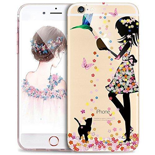 e iPhone 8/7 Hülle,Schmetterling Blumen Mädchen Vögel Flower Handyhülle Silikon TPU Silikon Hülle Handyhülle Tasche Durchsichtig Schutzhülle für iPhone 8/7 Hülle,Mädchen Vögel ()