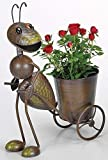 Blumentopf Karre Ameise, Gartenfigur Ameise mit Blumentopf Halter ziehend
