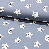 Stoff Baumwolljersey Jersey Mond Sterne grau 50cm x 150cm