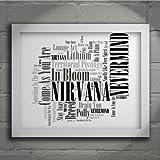 Nirvana - Nevermind - Firmada y numerada edición limitada pared arte tipografía Print - Song Lyrics Mini Poster