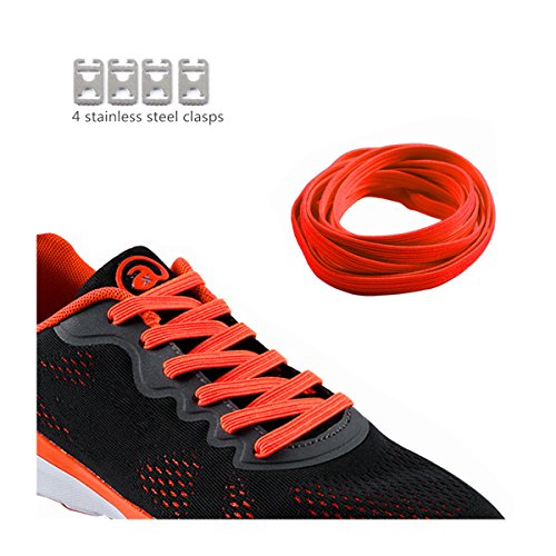 No Tie Shoelaces für Kinder und Erwachsene langlebigen Gummi flache elastische Sportlauf Schnürsenkel mit Multicolor für Sneaker Stiefel Brettschuhe und Freizeitschuhe (Rot-A)